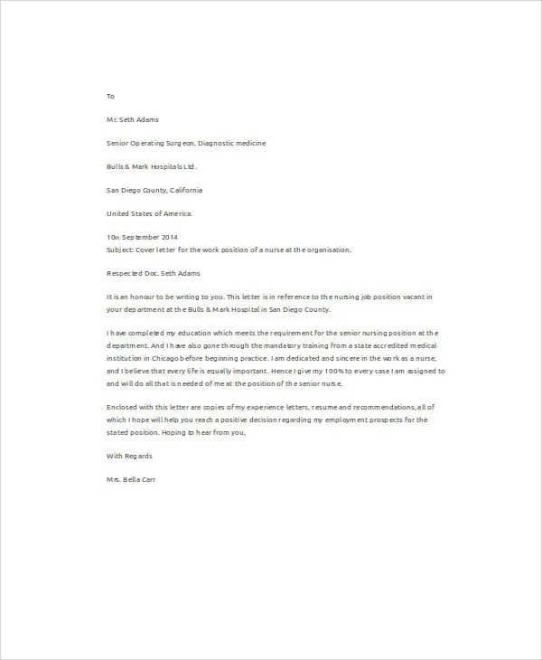 10+ Job Application Letters For Nurse - Free Sample, Example Format - an example of a cover letter for a resume