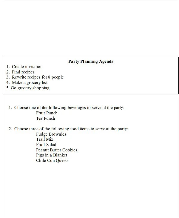8+ Sample Planning Agenda - Free Sample, Example Format Download - how to create a agenda
