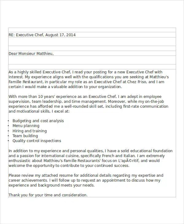 8+ Job Application Letters For Chef - Free Sample, Example Format