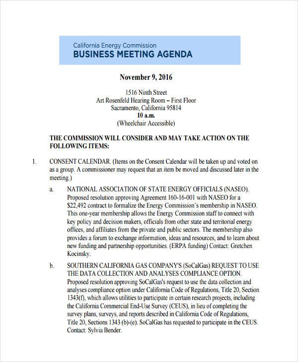 Agenda Formats - Resume Template Ideas - business meeting agenda format