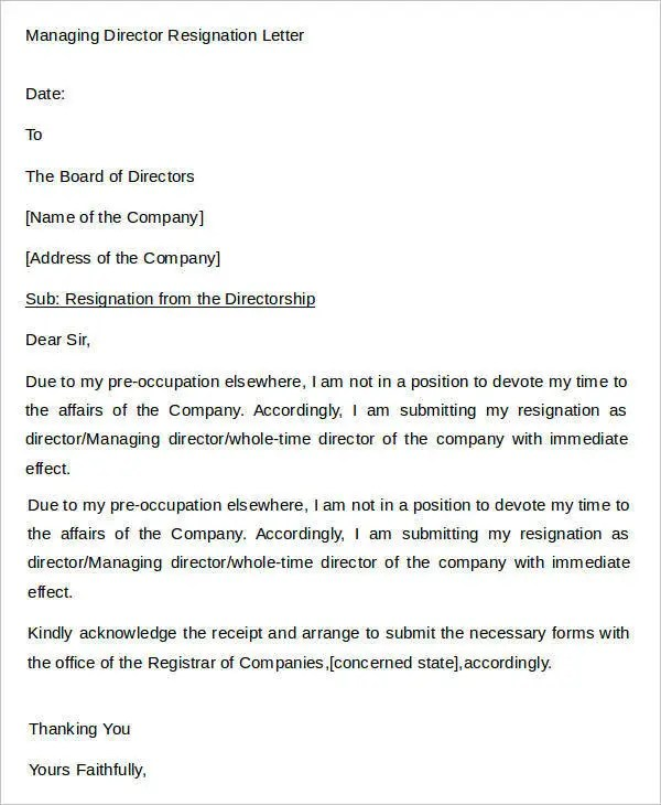 Sample Director Resignation Letters - 9+ Free Sample, Example Format