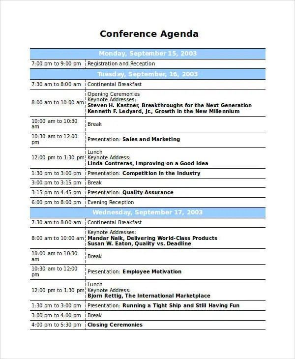 Sample Conference Schedule Template Working Group Meeting Agenda - conference schedule template