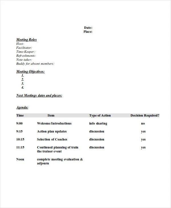 8+ Sample Professional Agenda - Free Sample, Example, Format - professional agenda templates