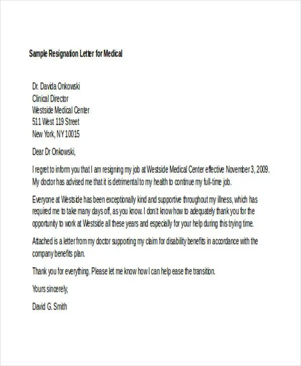 12+ Sample Medical Resignation Letters - Free Sample, Example Format