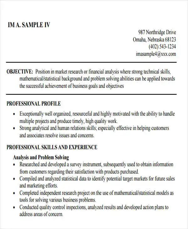 professional business analyst resume sample