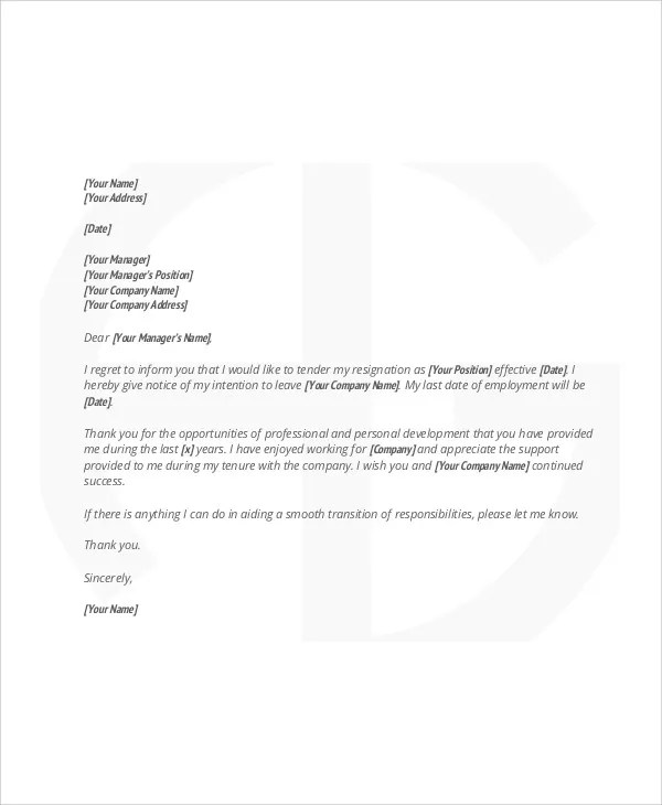 6+ Sample Thank-You Resignation Letters - Free Sample, Example