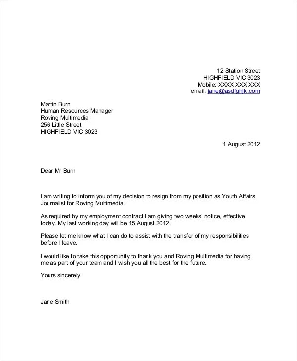 6+ Sample Thank-You Resignation Letters - Free Sample, Example - Examples Of Letters Of Resignation