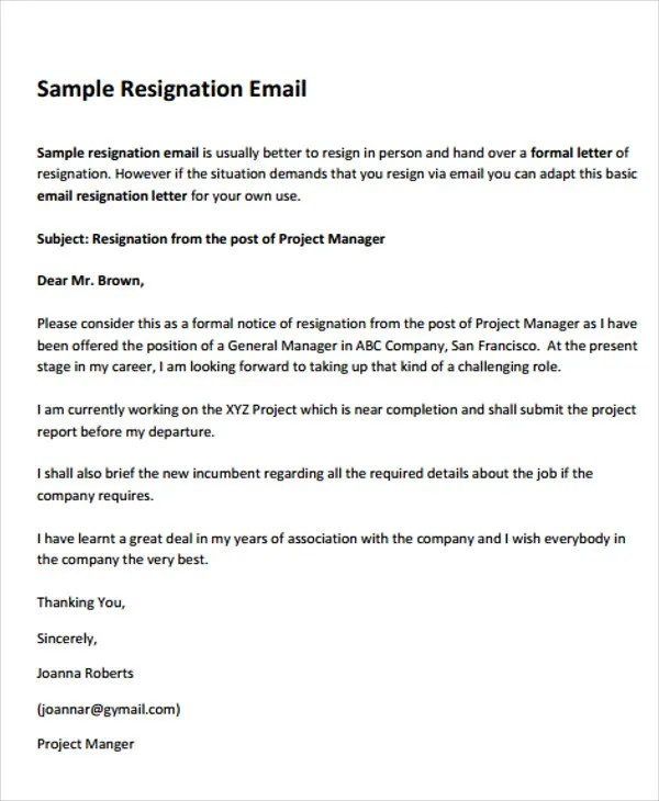 8+ Basic Resignation Letters - Free Sample, Example Format Download