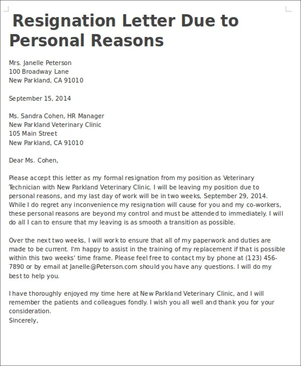 7+ Personal Reasons Resignation Letters - Free Sample, Example