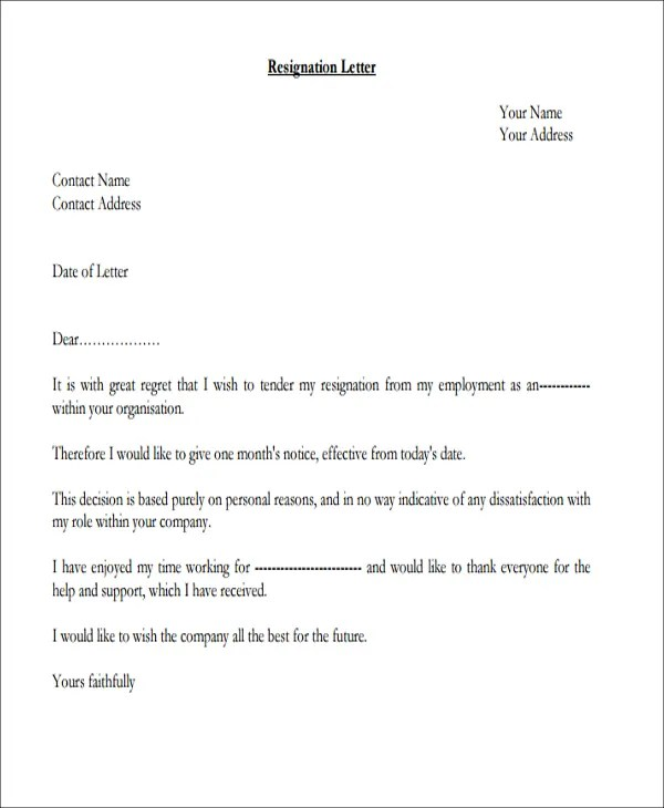 Resignation Letter Template 38 Free Word Pdf Documents 7 Personal Reasons Resignation Letters Free Sample