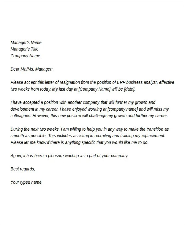 10+ Business Resignation Letters - Free Sample, Example, Format - letters of resignation