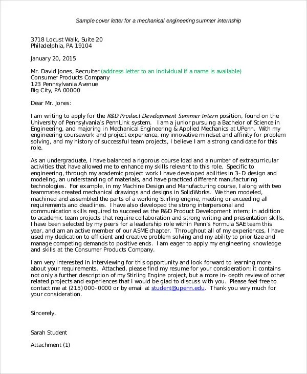 10+ Job Application Letter for Internship - Free Sample, Example - internship cover letter