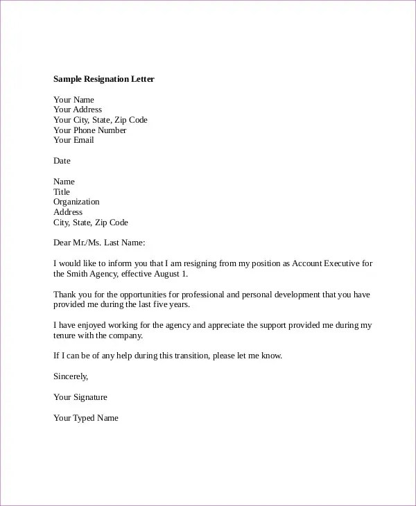 6+ Email Resignation Letter Templates - Free Word, PDF Format - executive letter template
