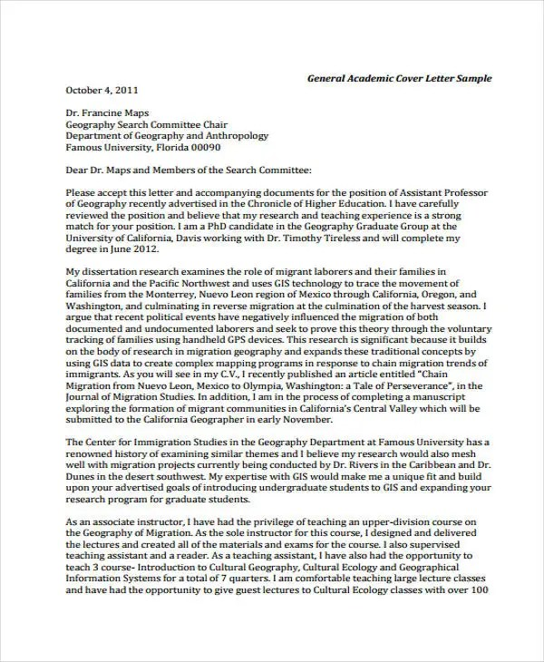 Academic Application Letters - 9+ Free Word, PDF Format Download