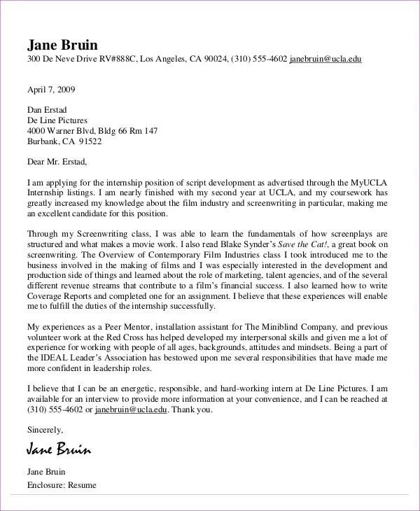 10+ Job Application Letter for Internship - Free Sample, Example