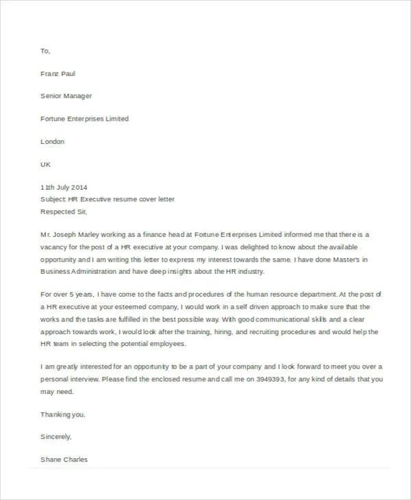 10+ Sample Job Application Letter for Executives Free  Premium