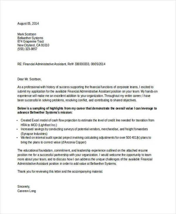 8+ Job Application Letter For Administrative Assistant - Free Sample