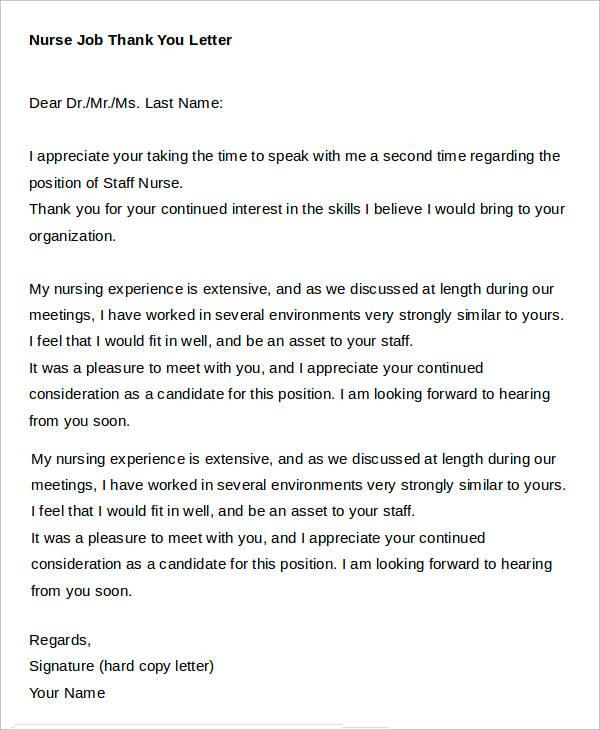 Nursing Thank You Letter Sample thank you letter after nursing