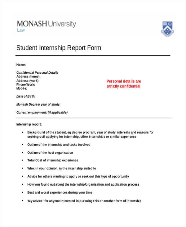 40+ Report Samples Free \ Premium Templates - sample internship report template