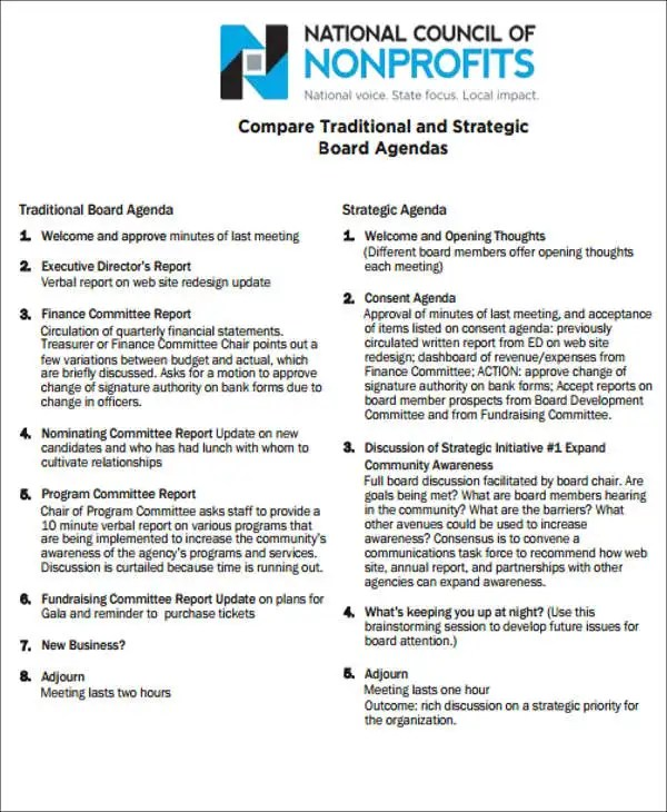 nonprofit board meeting agenda template - Onwebioinnovate - board meeting agenda