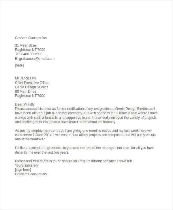 8+ Appreciative Resignation Letters - Free Sample, Example Format - heartfelt resignation letter