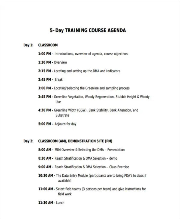 agenda example - Eczasolinf - sample training agenda
