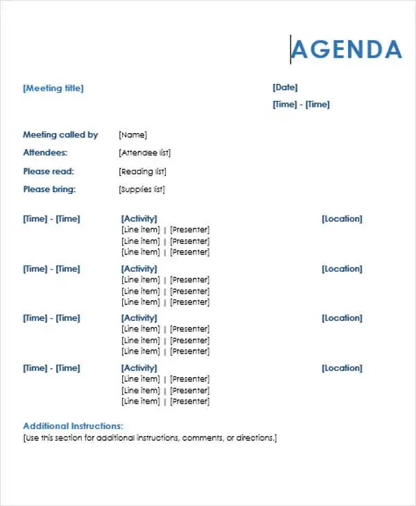 10+ Agenda Outline Templates - Free Sample, Example Format Download