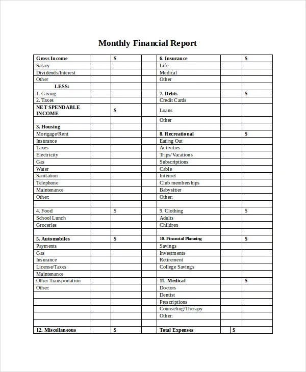 33+ Report Templates Free  Premium Templates - monthly financial report template