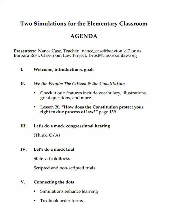 10+ Classroom Agenda Examples - Free Sample, Example Format Download