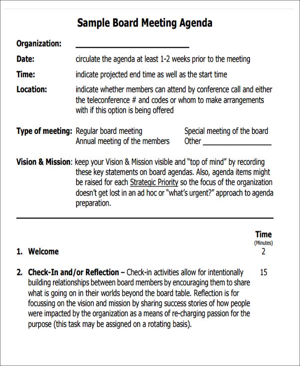 41+ Meeting Agenda Templates Free \ Premium Templates - sample board meeting agenda