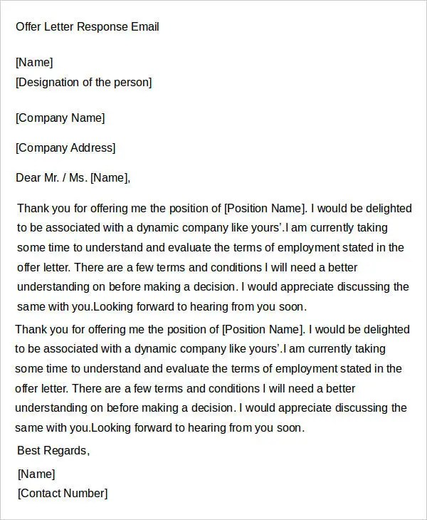 how to respond to an offer letter - Selol-ink