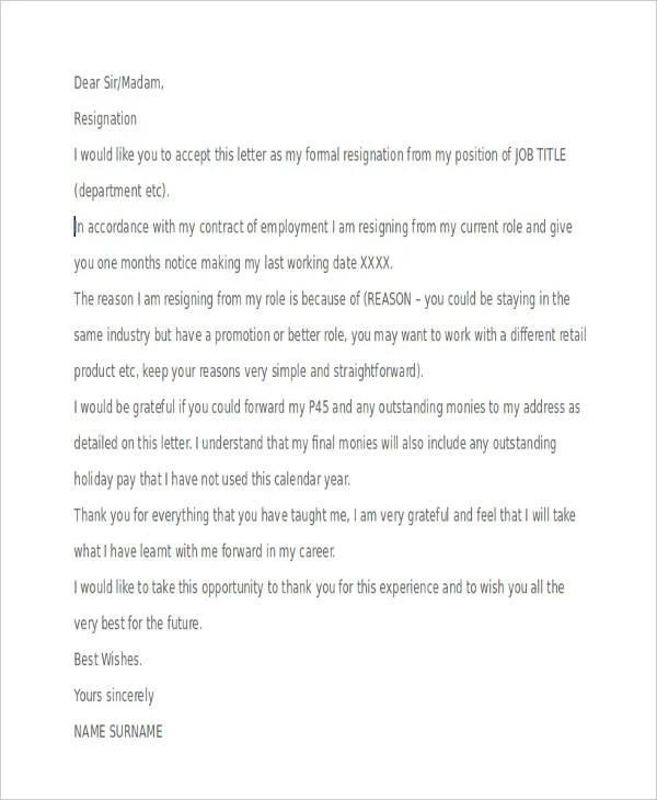 Resignation letter examples resume templateasprovider 8 retail resignation letter template sample example format resignation letter examples expocarfo