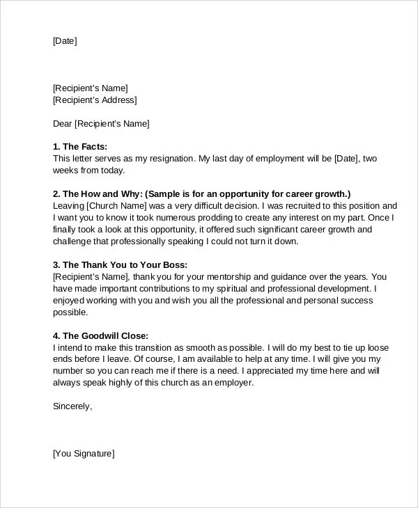 26 Appointment Letter Templates Free Sample Example 9 Church Resignation Letter Template Free Sample