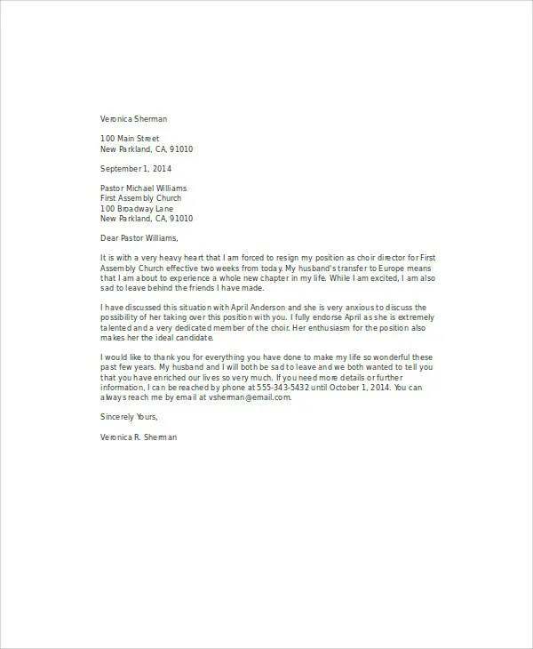 9+ Church Resignation Letter Template - Free Sample, Example, Format
