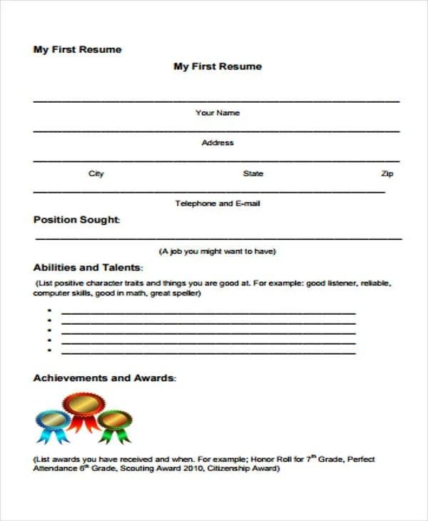 14+ First Resume Templates - PDF, DOC Free  Premium Templates