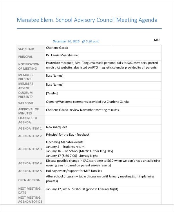 design meeting agenda