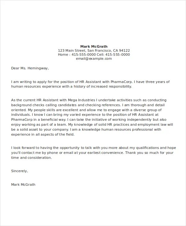 9+ Cover letter Templates and Examples Free  Premium Templates - human resources assistant cover letter