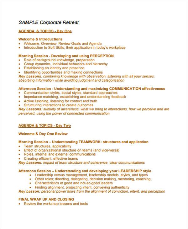 10+ Retreat Agenda Templates - Free Word, PDF Format Download Free