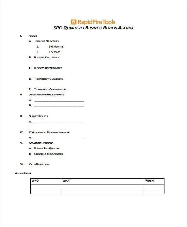 Review Agenda Templates - 10+ Free Word, PDF, Doc Format Download - business review template
