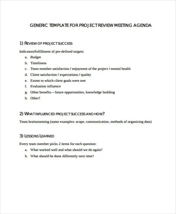 Review Agenda Templates - 10+ Free Word, PDF, Doc Format Download
