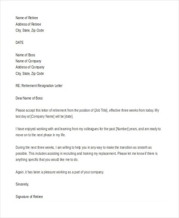 12+ Retirement Resignation Letter Template - Free Word, PDF Format