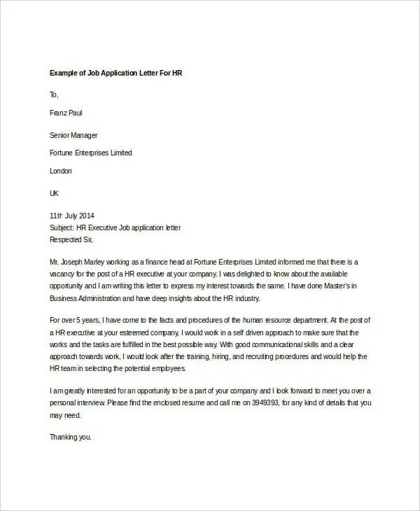 10+ Sample HR Job Application Letters - Free Sample, Example Format