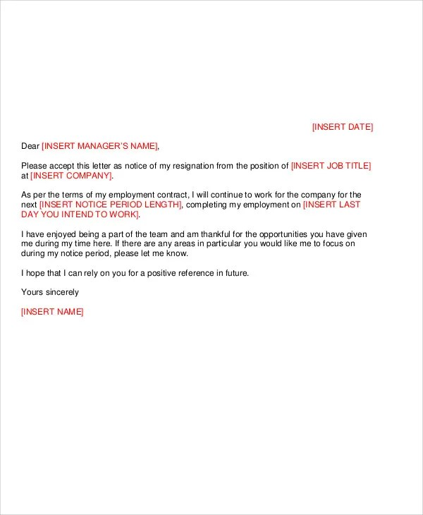 8+ Work Resignation Letter Template - Free Sample, Example, Format