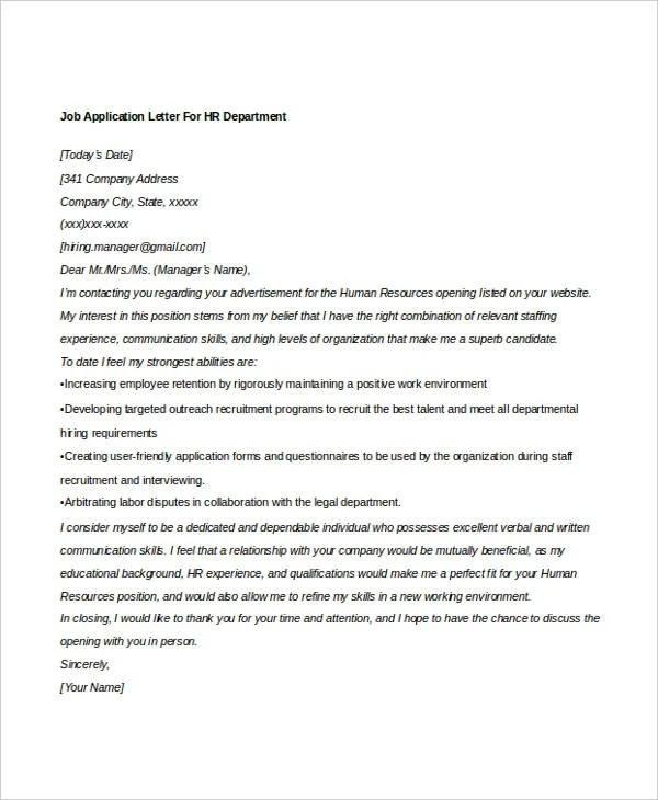 13+ Sample HR Job Application Letters - Free Sample, Example Format - hr letter