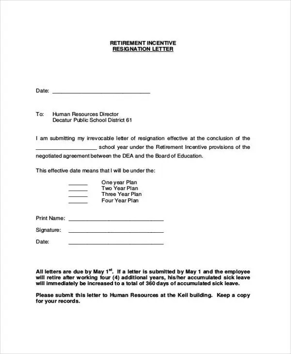 10+ Sample Retirement Resignation Letters - Free Sample, Example