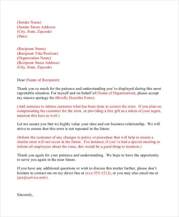 ... Professional Apology Letter   17+ Free Word, PDF Format Download    Sincere Apology Letter ...