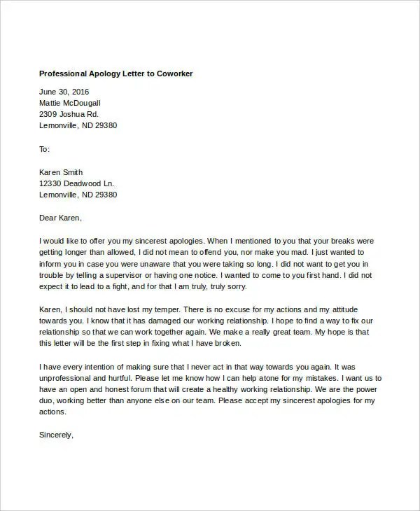 Professional Apology Letter - 17+ Free Word, PDF Format Download - how to make an apology letter