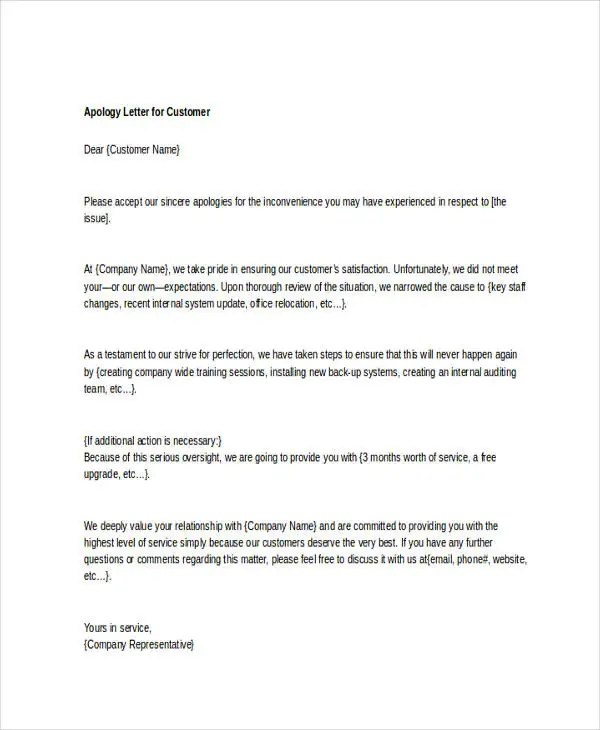 6+ Letter Of Apology Templates - Free Sample, Example Format - letter of apology sample