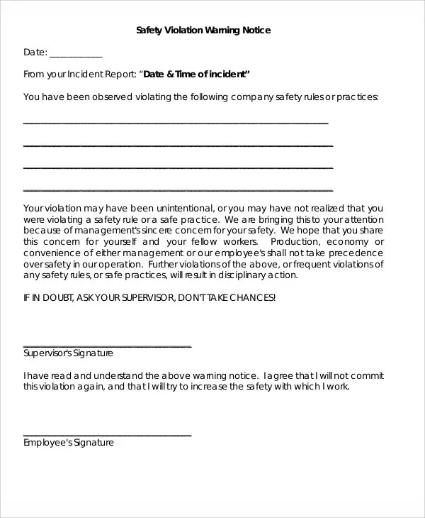 10+ Safety Warning Letter Templates - PDF, DOC Free  Premium - incident report letter format