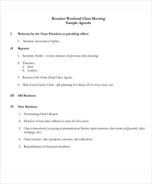 Sample School Agenda Templates - sample meeting agenda 2